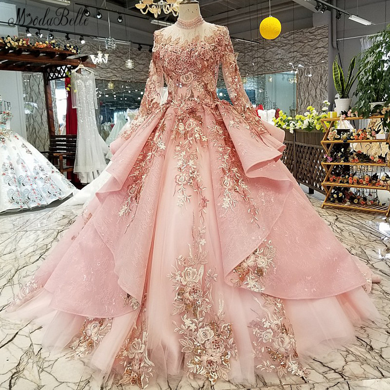 modabelle High Neck Pink   Evening     Dress   Vestido Largo 2019 Saudi Arabia   Evening     Dress   Arabic Vestidos De Gala Largos De Noche