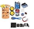 Nova Fuga de rastreamento Motor Inteligente Robot Car Kit Chassis Velocidade Encoder Caixa de Bateria 2WD Ultrasonic módulo
