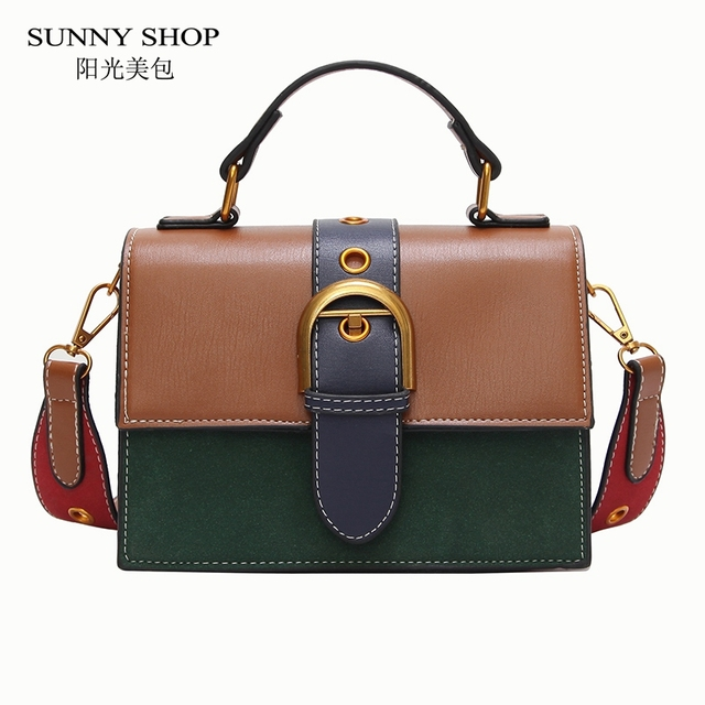 Mini Crossbody Sling Bags Vintage Woman Fashion Flap Sling Bag Color Blocking Messenger Bag 2018 New Beach Handbags Leather