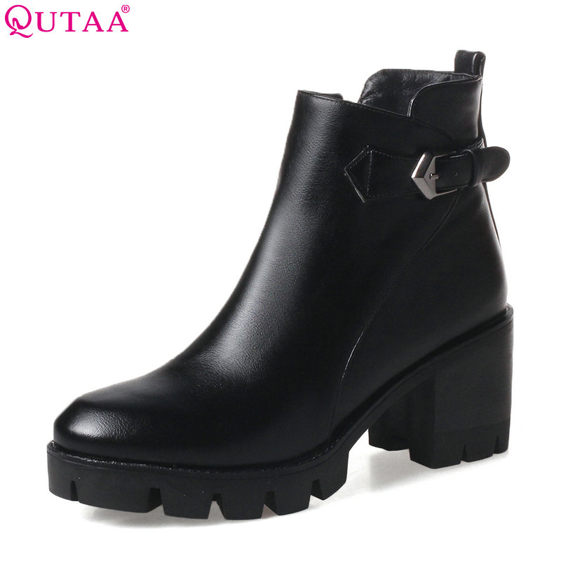 QUTAA 2018 Women Ankle Boots Square High Heel Zipper Round Toe Women PU leather Buckle Black Ladies Motorcycle Boots Size 34-43 qutaa 2018 black women ankle boots square high heel pointed toe genuine leather fashion zipper women motorcycle boots size 34 42