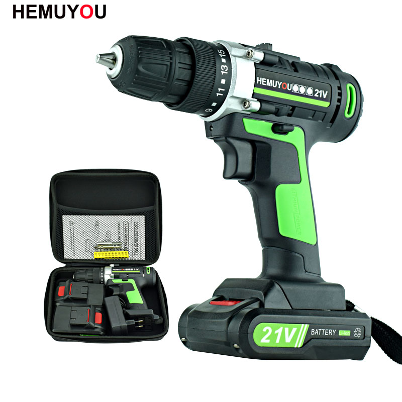 цена на 21V Power Tools Rechargeable Lithium Battery*2 Mini Cordless Electric Drill Multifunction Electric Screwdriver 2-Speed +12 Drill