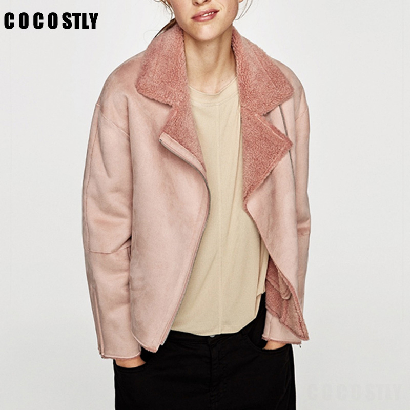 High Quality 2017 Coats Women Thick   Suede   Jackets Women Autumn Winter Jacket Lambs Wool Short Motorcycle Coats