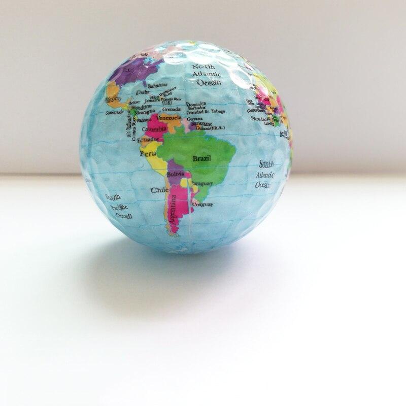 2pcs/set Globe Map golf balls Color Golf Balls Practice Ball Golf Gift Balls transparent colorful Children pet Toys Massage