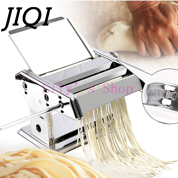 Home hand noddles pasta maker machine stainless steel manual noodle press making machines pasta cutter kitchen cooking tools 1pc household mini pasta machine manual metal spaetzle makers pressing machine pole head mingled split noodle tools