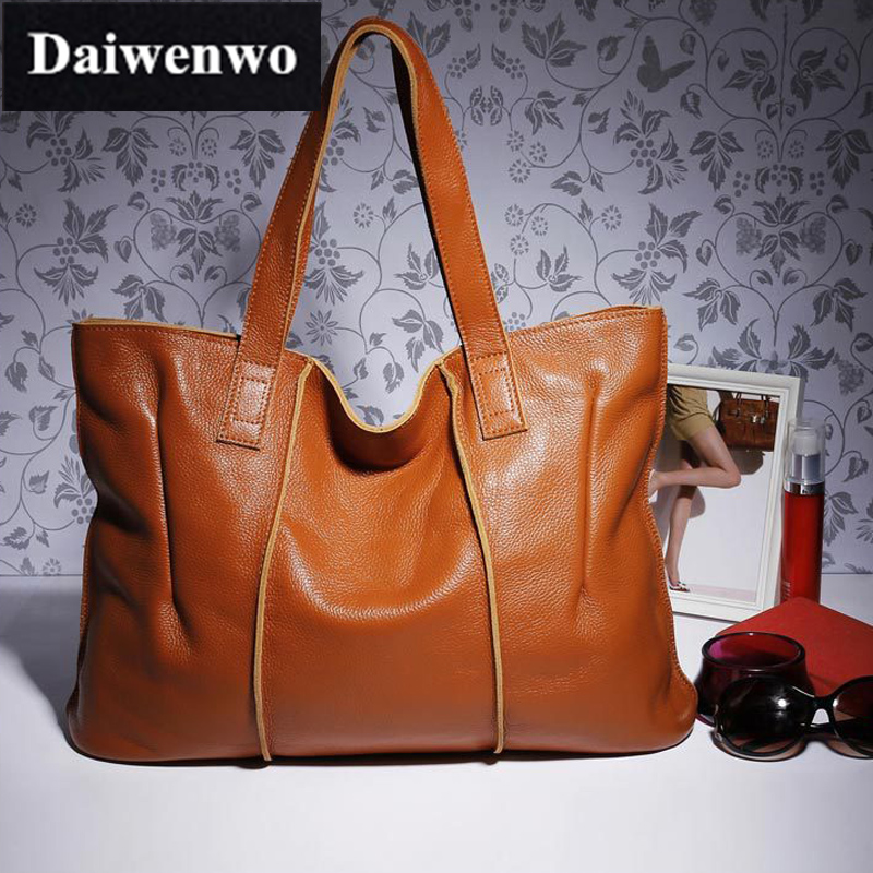 купить Woman 100% Genuine Leather Handbag Large Cowhide Handbag Big Tote Women's Messenger Bags Shoulder Bag Female Bolsos Mujer J22 недорого