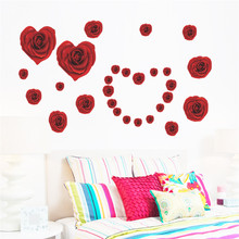 2017 New arrical hot Romantic Love 3D DIY Rose Flower Removable Wall Sticker Home Decor Room Decals Wedding Decoration Gift