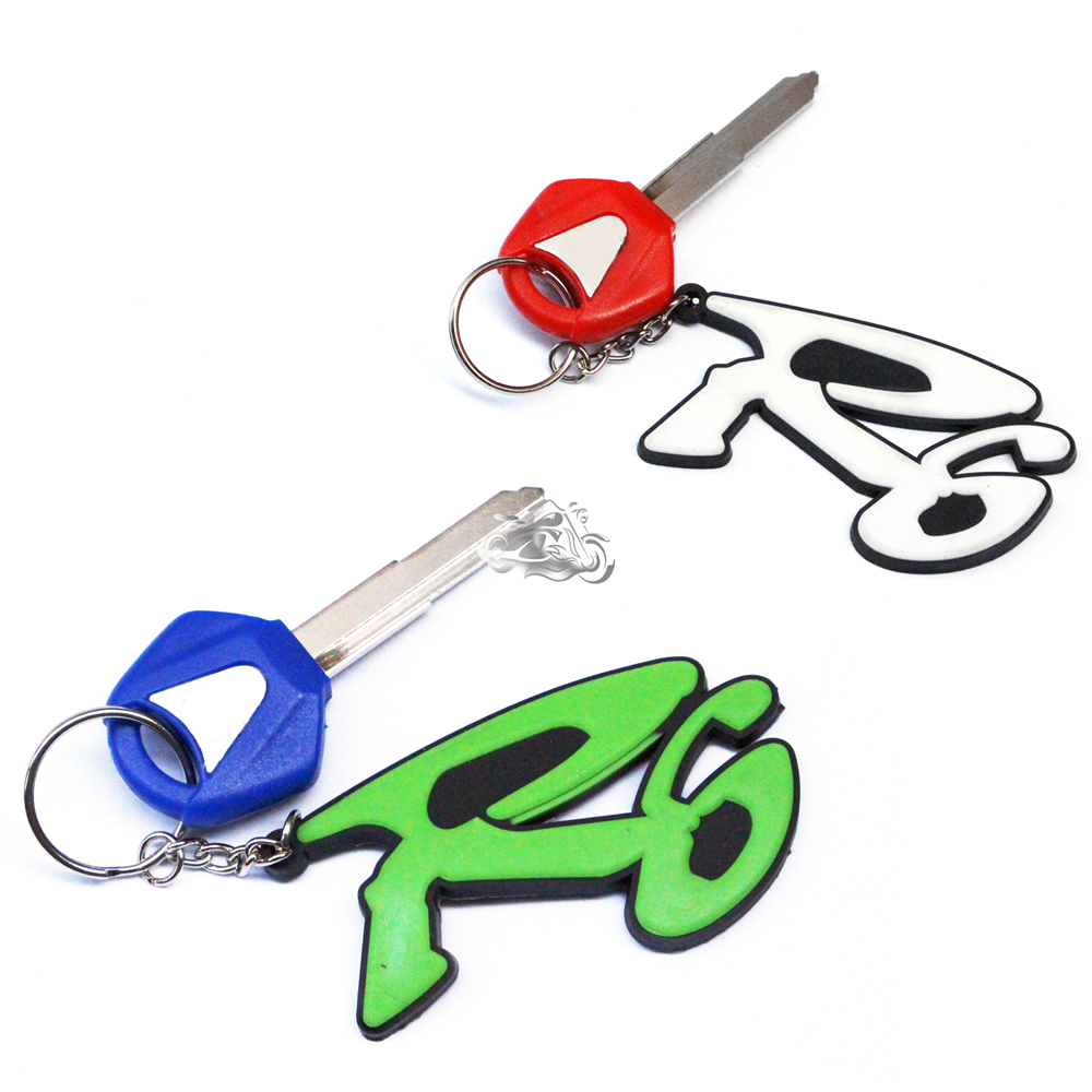 New For Yamaha YZF R1 R6 FZ1 FZ4 FZ6 FZ8 XJ6 XJR400 XJR1200 XJR1300 FJR 3D Soft Rubber Motorcycle Blade Uncut Key+Ring Keychain