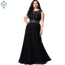 Ameision Plus Size Evening Dresses Long Sexy Illusion Waist Backless 2019 Women Solid Chiffon Cut-Out Lace robe de soiree