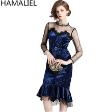 HAMALIEL Goddess Luxury Women Party Dress 2018 Runway Autumn Blue Velvet  Patchwork Mesh Ruffles Slim Bodycon Sexy Mermaid Dress 81c2f4fd58c1