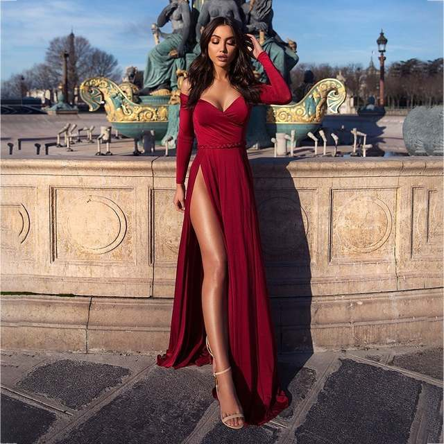 91780ffd6a Ohvera Sashes Off Shoulder Long Maxi Dress Women Wrap High Split Sexy Party  Dresses Elegant Red Black Autumn Dress 2018 Vestidos