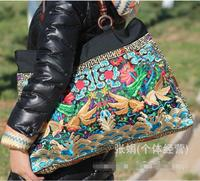 กระเป๋าเย็บปักถักร้อยชาติพันธุ์ขายส่งแฟชั่นบุคลิกภาพชาติพันธุ์สไตล์จีนไหล่ถุงใหญ่ถุงก...