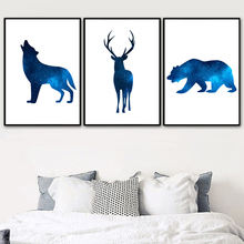 Abstract Universe Wolf Deer Bear Wall Art Canvas Painting Nordic Posters And Print Animal Wall Pictures For Living Room Decor цена в Москве и Питере