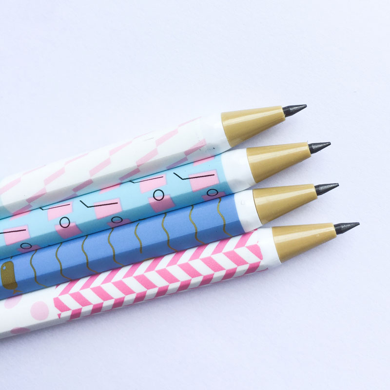 P21 3X Fresh Pastel Dots Wave Striped Press Automatic Mechanical Pencils School Office Supply Stationery 2.0mm