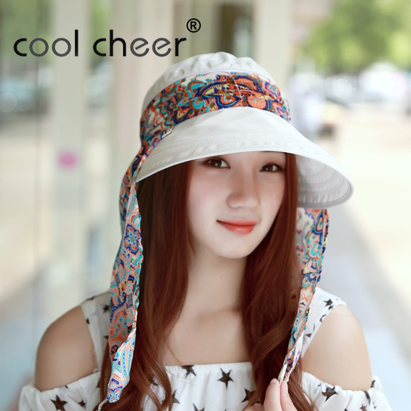 [CoolCheer] New Arrival Ladies Hats Wide Brim Sun Hat Women UV Protection Summer Cap Floral Design Beach HatsChapeu Feminino