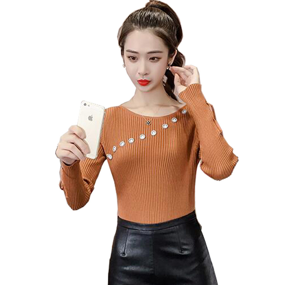 JKKUCOCO Newest Sweet Knitted Sweater Women Long Sleeve O neck Fashion Solid Button decoration Sweaters Women