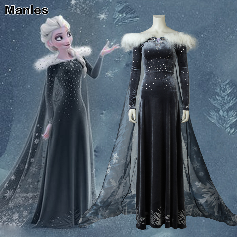 Olaf's Adventure Elsa Cosplay Costume Princess Fancy Dress Adult Sequined Snow Queen Halloween Costumes For Women Party Clothing