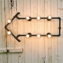 American Water Light Creative Arts Cafe Bar loft retro industrial pipes arrow bookshelf wall lamp wall sconce
