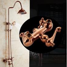 Dofaso vintage bathroom big rain shower faucet Classic Luxury Rose Gold Plate Shower Set Antique Lifting Wall Mounted 8