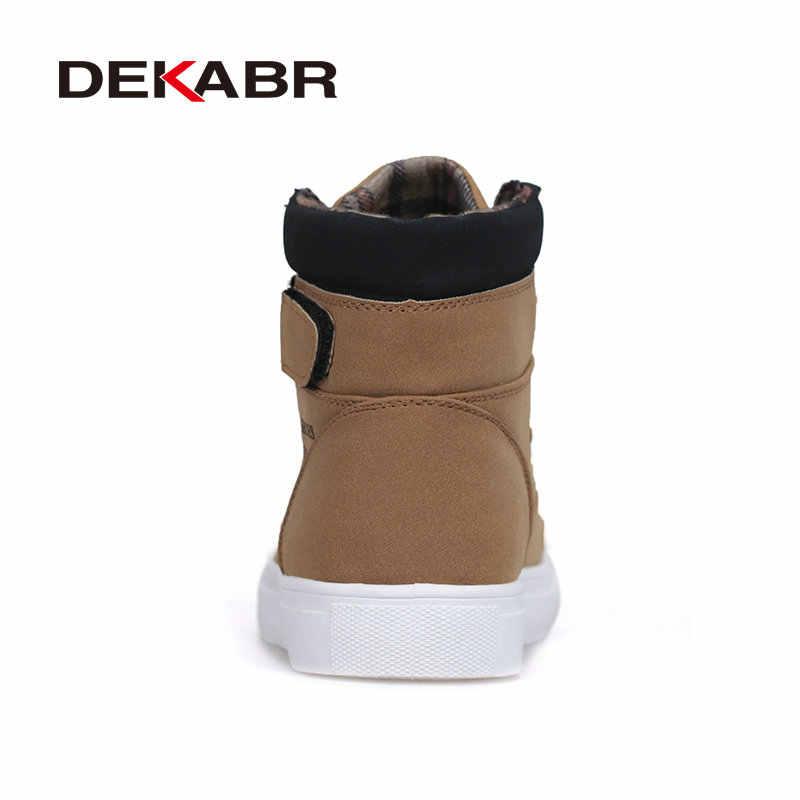 ZIMNIE New Men High Top Canvas Shoes Fashion Casual Shoes Autumn Winter Warm Fur Men Boots Men Leather Footwear Big Size 38~47