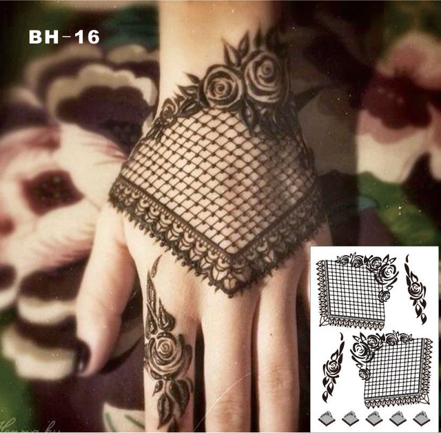 #BH-16 Gothic Style Black Lace Henna Temporary Tattoo With Rose Pattern Inspired Body Sticker