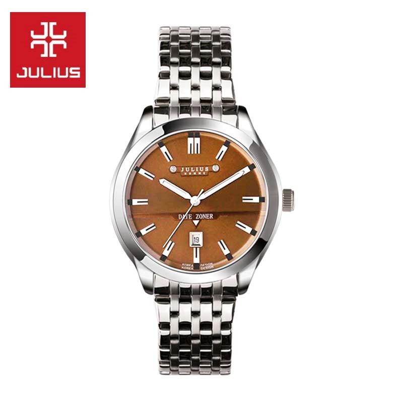 Top Men s Wrist Watch Julius Quartz Hours Best Fashion Dress Bracelet Stainless Steel Band Business