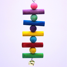 1Pcs Pets Suplies Parrot Toys Bird Toy Colored primary color colorful Wooden String Hanging Bite Gnawing Ladder