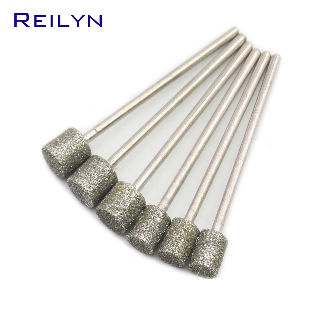 12PC Ultra-long Shank Coarse Grit #60 6mm/8mm/10mm Diamond Cylinder Abrasive Bits Grinding Peeling Head