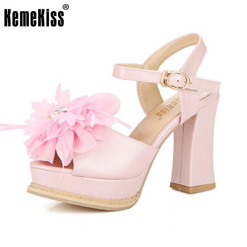 KemeKiss Size 30-43 Women Hig Heels Sandals Open Toe Platform Summer Shoes Women Flower Ankle Strap Fashion Lady Party Footwear as19 h1g as19 hig