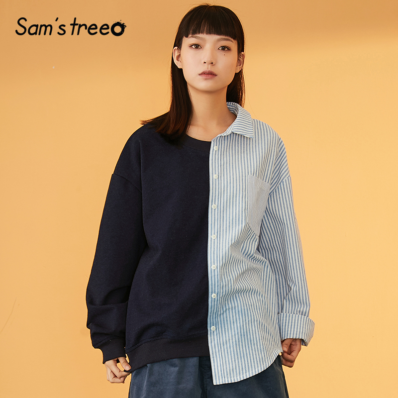 Samstree Loose Long Sleeve Women Tops Spring Autumn Asymmetric Length Patchwork Striped Button Female Pullover Fake