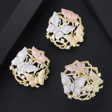 SISCATHY Trendy 3Tone Cubic Zirconia Butterfly Rings For Women Big Statement Wide New Jewelry Gift Wife Grilfriend