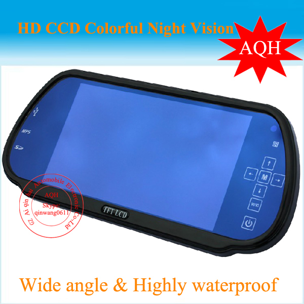 Free Shipping new 12Voltage waterproof CCD reverse camera high definition 7inch rear view mirror TFT With 2 Video input,USB MP5