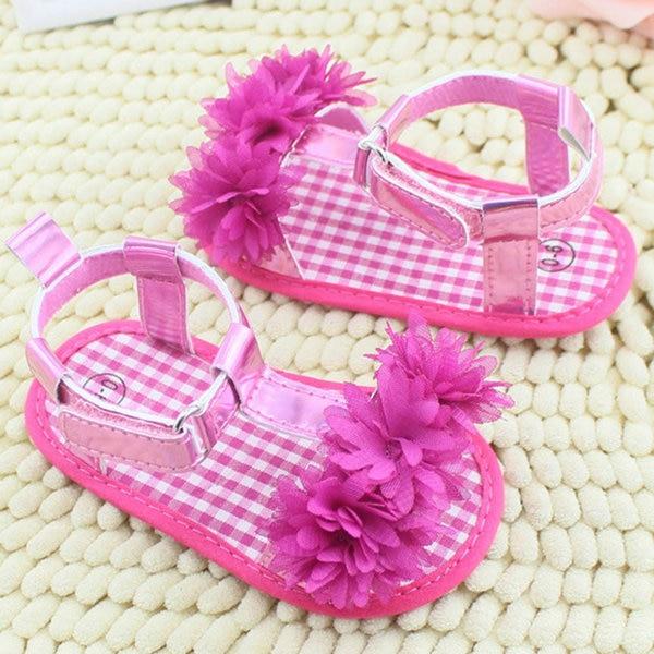 Newborn Baby Summer Prewalker Shoes Princess Soft Soled Anti-slip Flower Shoes
