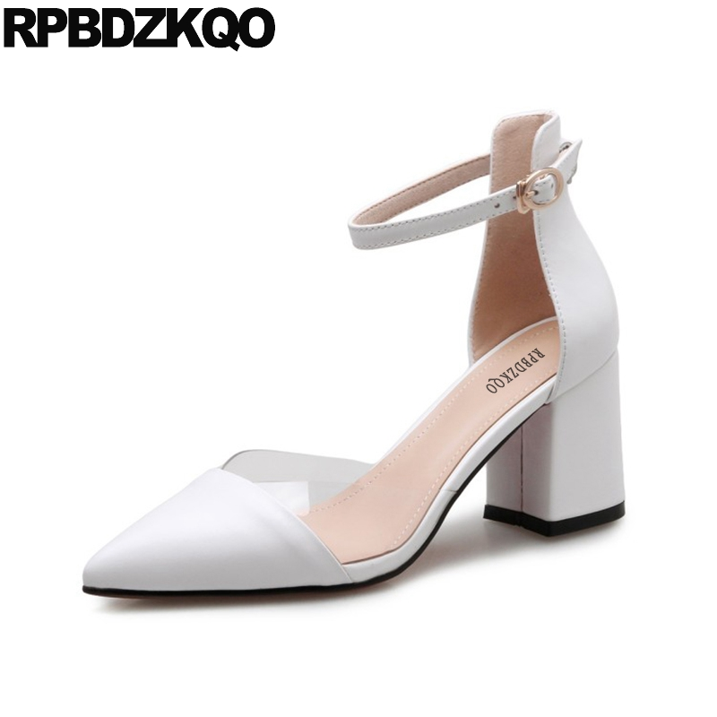 Beige Pointed Toe Luxury Brand Women Shoes 2017 Pumps Pvc Ankle Strap Chunky High Heels 3 Inch Size 4 34 Elegant Transparent pumps size 33 brand black 4 34 platform shoes women 3 inch 11 43 ladies 2018 10 42 chunky high heels pointed toe plus customized