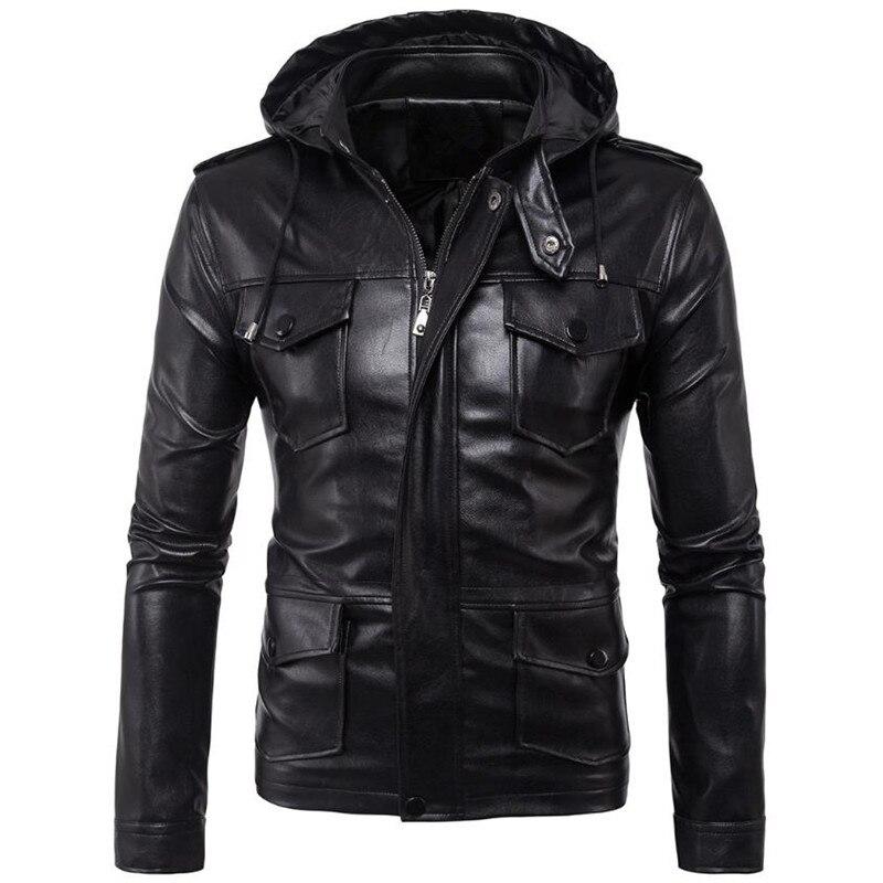 Automne et Winte nouvelle annonce hommes veste en cuir moto couleur unie hommes veste en cuir veste à capuche manteau amovible