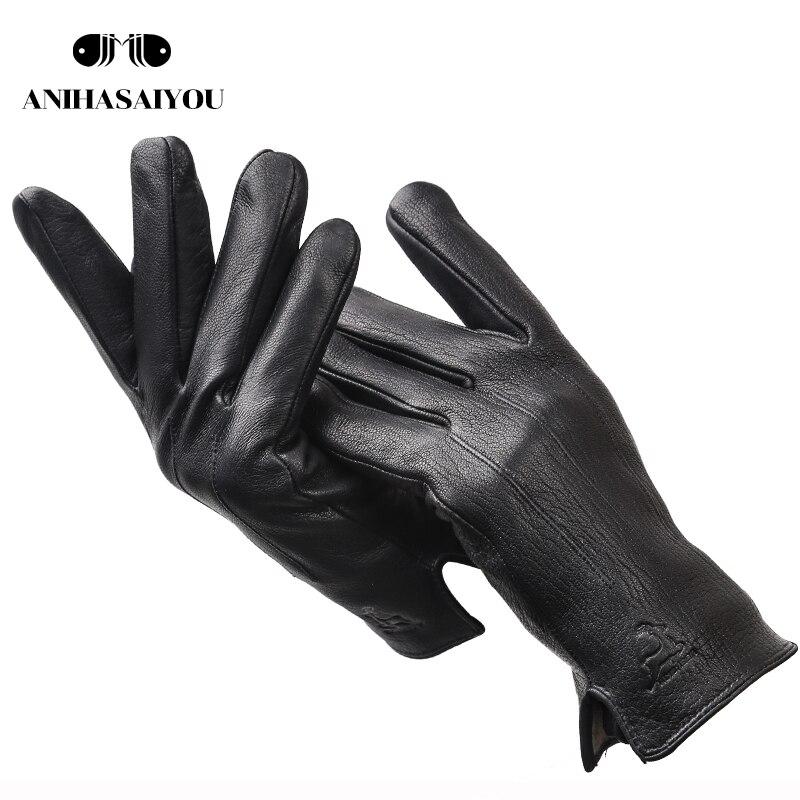 New Leather Gloves Men,deer Skin Genuine Leather Men Touch Gloves,warm Soft Men's Winter Gloves,black Mens Leather Gloves-8012