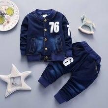 65d82e16aed BibiCola baby Boys Clothing Sets spring autumn Toddler Sport Suit Kids  Clothing Set children Clothes Denim Jeans Coat+Pants