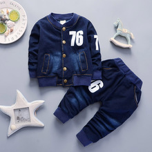 цена на BibiCola children Boys Clothing Sets spring autumn Sport Suit Kids Clothing Set Little boys Clothes Denim Jeans Coat+Pants