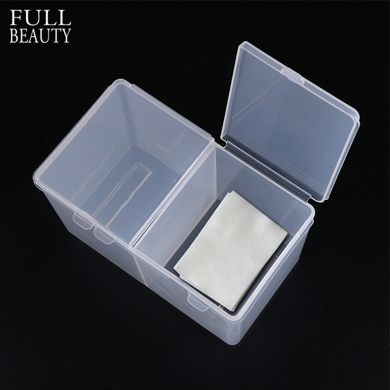 Full Beauty Clear/Pink 2 Grids Plastic Empty Storage/Case/Box for Cosmetic Makeup Cotton Nail Art Paper Wipe Organizer CH013 black professional makeup cosmetic storage train case box trays aluminum organizer artist hiker draws