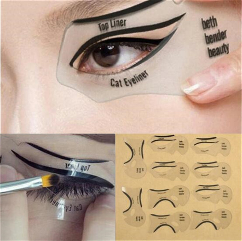 10pcs Eyeliner Template Eye Fish Tail Double Wing Eyeliner Models Template Shaping Tools Eyebrows Template Card DIY