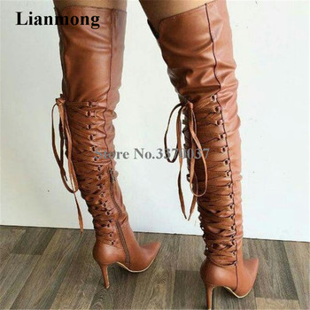 Ladies New Fashion Brown Leather Pointed Toe Back Lace-up Gladiator Boots Thin Heel Long High Heel Boots Dress Shoes