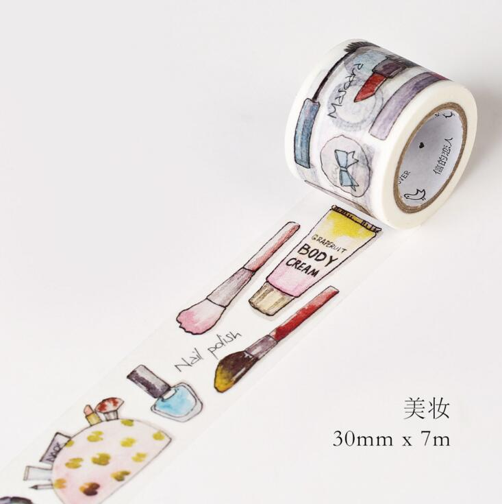 JG104  3CM Wide Daily Makeup Tools Washi Tape DIY Scrapbooking Sticker Label Masking Tape School Office Supply