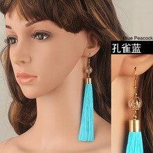 WLP jewelry  Bohemian Gold Color Tassel Long Earrings brinco Black/White Silk Hanging Earrings For Women Jewelry Dangle Earring