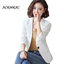 Acrmrac Wanita Blazers Slim Setengah Lengan Pendek Warna Solid Musim Semi  Musim Gugur Jaket OL Formal Blazer Wanita 8817 46045e5ce1