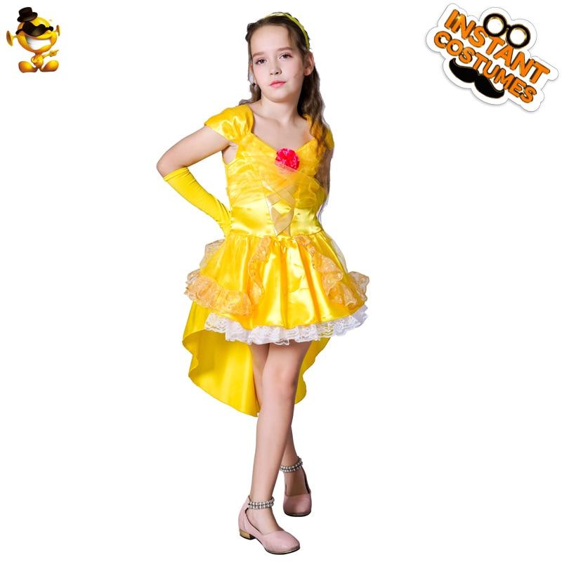 Детский карнавальный костюм принцессы Белль на Хэллоуин; карнавальный костюм красавицы и чудовища для девочек; одежда для карнавала и вече