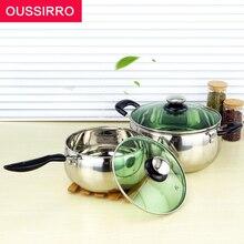 1 stücke Mehrzweck Suppentopf Edelstahl-topf mit Hartglasabdeckung Küche Topf für Gas und Induktionsherd