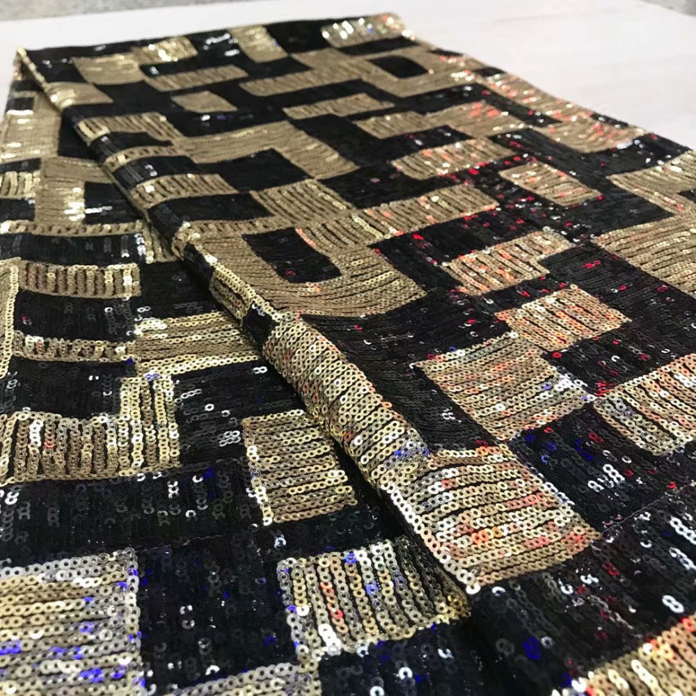 Fast Shipping by DHL High Class Material African French Lace Fabric With Sequins Black Gold Colors