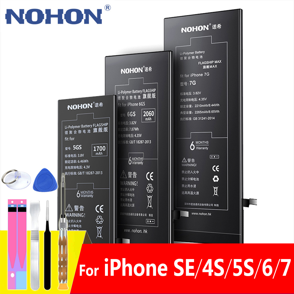 NOHON Battery For Apple IPhone SE 4S 5S 6 7 Replacement Mobile Phone Batteries