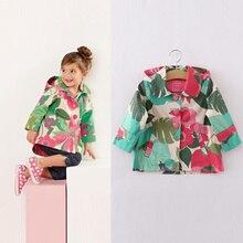 2016 Европа следующая Весна Осень девушки пальто детей девушки Цветы pattern мода капюшоном Дети девушки Случайные верхняя одежда пальто