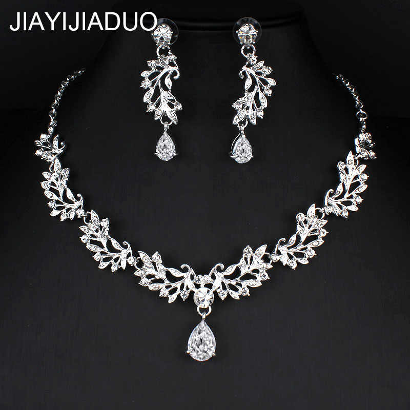 jiayijiaduo Silver Color Rhinestone Bridal Jewelry Sets Classic Teardrop Crystal Wedding Necklace Sets European Party Jewelry