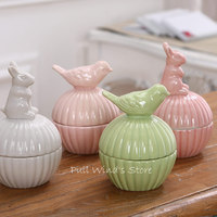 Rural Style Lovely Bird Ceramic Storage Box Cartoon Rabbit Ceramic Jewelry Storage Box Desk Decorations